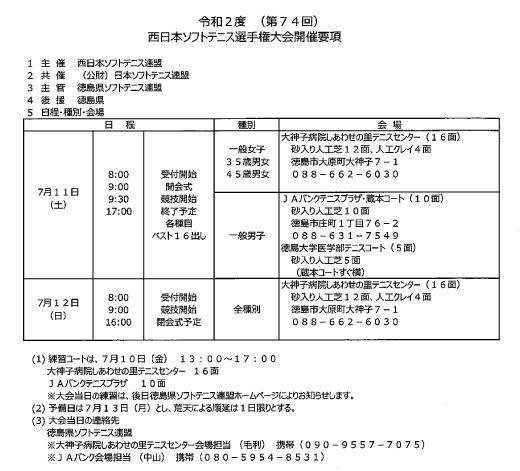令和2年度西日本ソフトテニス選手権大会